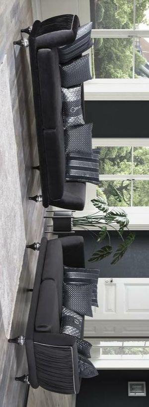 Lisbet black velvet sofa and loveseat for Sale in Houston, TX
