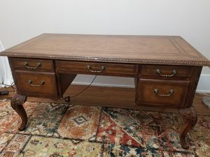 Wood Desk & Leather Chair for Sale in Staunton, VA