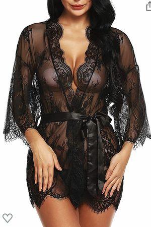 Women's Lace Kimono Robe Babydoll Lingerie Eyelash Nightgown Dress for Sale in Houston, TX