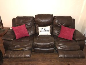 Double Recliner Brown Leather for Sale in La Vergne, TN