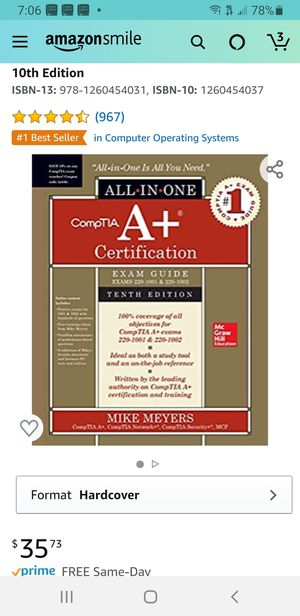 CompTIA A+ Certification All-in-One Exam Guide, Tenth Edition (Exams 220-1001 & 220-1001) for Sale in St. Petersburg, FL