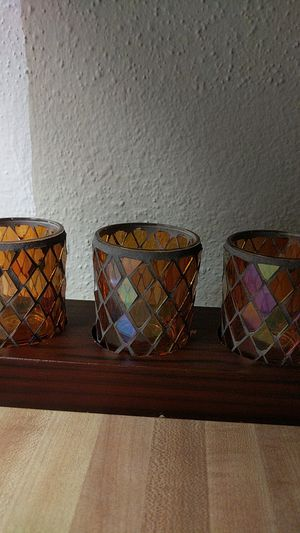 Vintage stained glass mosaic candle holders x6 for Sale in Houston, TX