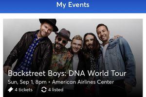 Backstreet Boys Floor Seats for Sale in Carrollton, TX