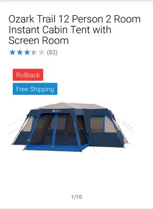 Used, Ozark Trail 12 Person 2 Room Instant Cabin Tent. New. for Sale for sale  Elizabeth, NJ