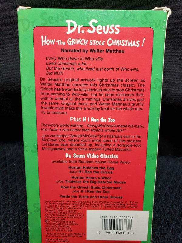 Dr Suess How The Grinch Stole Christmas VHS & if I ran the zoo