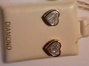 Diamond heart earrings for Sale in Columbia, MD