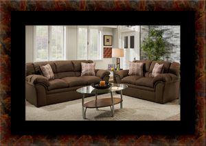 Chocolate fabric sofa and loveseat for Sale in Manassas, VA