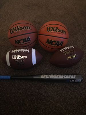 Basketballs, Footballs and Baseball Bat for Sale in Nashville, TN