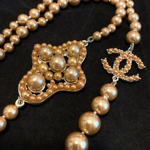 Champagne Long Pearls Chain Necklace for Sale in Fremont, CA