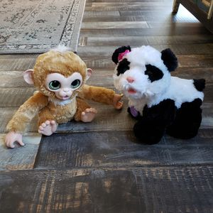 "FurReal Friends 2017 Check Up Zandi Monkey 9"" and Pom Pom My Baby Panda Bear 12"" Electronic Interactive Pet Hasbro TESTED WORKING (Lot of 2) for Sale in Las Vegas, NV"