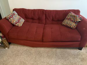 Burgundy /red sofa with pillows for Sale in Macon, GA