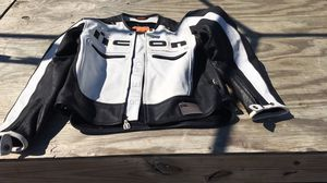Icon black and white leather motorcycle jacket M for Sale in Duluth, GA