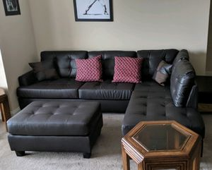 Brand New Espresso Faux Leather Futon /Sectional Sofa Couch + Ottoman for Sale in Silver Spring, MD