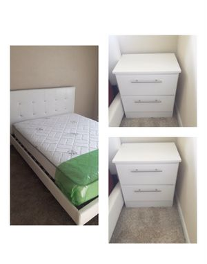 New 4 pieces queen bed frame mattress and nightstands included for Sale in Orlando, FL