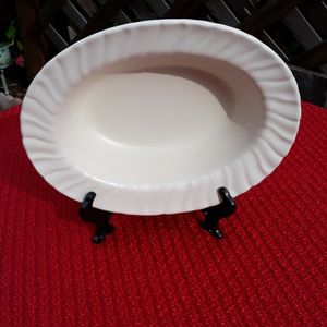 """Vintage 1930-40 GMB Gladding McBean Franscian 10"""" Matte White Pottery Oval Swirl Bowl for Sale in Puyallup, WA"""