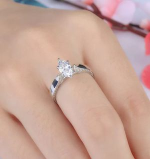 Brand new women's Stamped 925 Sterling Silver marquise cut simulated diamond Solitare engagement ring wedding ring promise ring for Sale in New Port Richey, FL