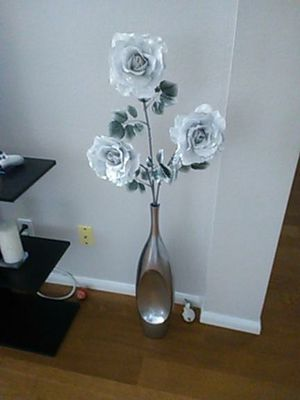 Silver tall vase with flowers for Sale in Chino Hills, CA