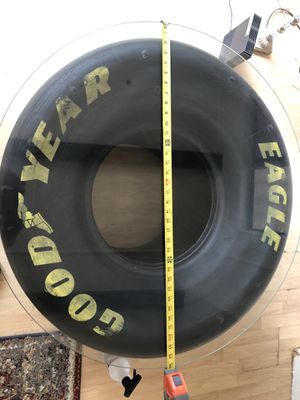 Cool drag race tire end table with glass top - great condition for Sale in Temecula, CA