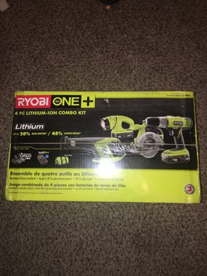 RYOBI 18-Volt ONE+ 4PC LITHIUM-ION COMBO KIT (NEVER OPENED OR USED BEFORE +100$ OFF ORIGINAL PRICE for Sale in Richardson, TX