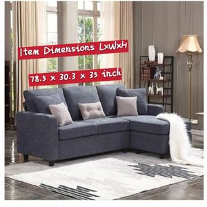 HONBAY Convertible Sectional Sofa Couch, L-Shaped Couch with Modern Linen Fabric for Small Space Dark Grey for Sale in Hacienda Heights, CA