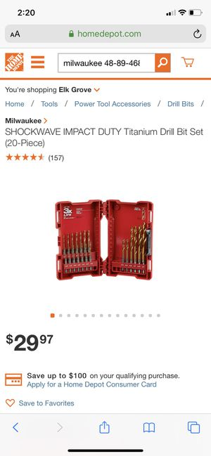 Milwaukee 20 piece Titanium drill bit set. for Sale in Sacramento, CA