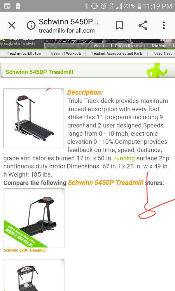 Schwinn 5450p Treadmill Fairly New