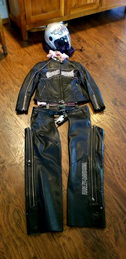 Harley Davidson Leather Jacket, Chaps, and Helmet for Sale in Bend,  OR