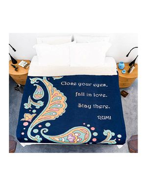 Rumi Inspirational Love quote Throw Blanket - Navy Blue Oriental Pattern - Large Warm Fluffy Microfiber Non-Shedding Sherpa Flannel Fleece for Sale in Bassett, CA