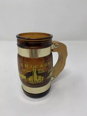 Vintage Siesta Ware CHICAGO ILLINOIS IL small brown Glass with Wood Handle for Sale in New London, MO