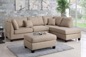 SAND FABRIC SECTIONAL SOFA REVERSIBLE CHAISE OTTOMAN / SILLON SECCIONAL for Sale in Temecula, CA
