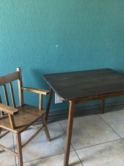 Antique Wood Chair And Table Toddlers Size for Sale in Lewisville,  TX