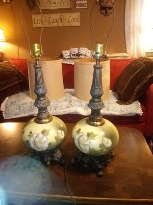 Antique hand painted green and white floral Victorian footed design lamp pair for Sale in Wakeman, OH