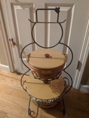 Longaberger snowman iron stand and 2 baskets with liners and lids for Sale in Beaverton, OR