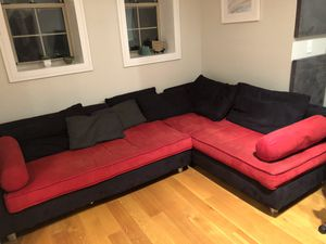 Red/Black Couch — Super Comfy (w/ pillows) for Sale in New York, NY
