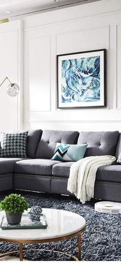 HONBAY Reversible Sectional Sofa Couch for Living Room L-Shape Sofa Couch 4-seat Sofas Sectional for Apartment Dark Grey for Sale in Philadelphia,  PA