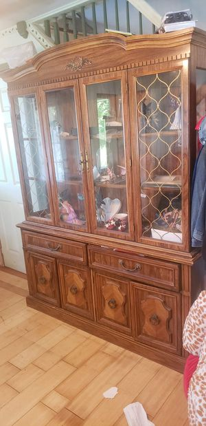 Large Wooden And Glass China Hutch for Sale in Pottsville, PA