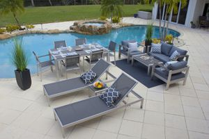 Belvadare 14 Piece Brushed Aluminum Combination Outdoor Furniture Set for Sale in Miami, FL