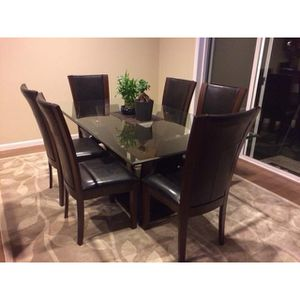 Glass Dining Table with 6 Chairs for Sale in Lake Stevens, WA
