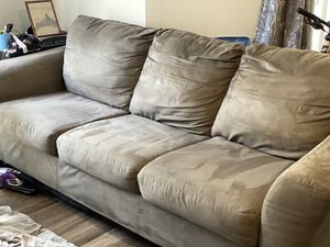 3 seat sofa couch microfiber soft light grey suede for Sale in Apex, NC