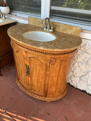 Bathroom vanity 37 inches wood cabinet granite countertop and faucet included for Sale in Palm Beach Gardens, FL
