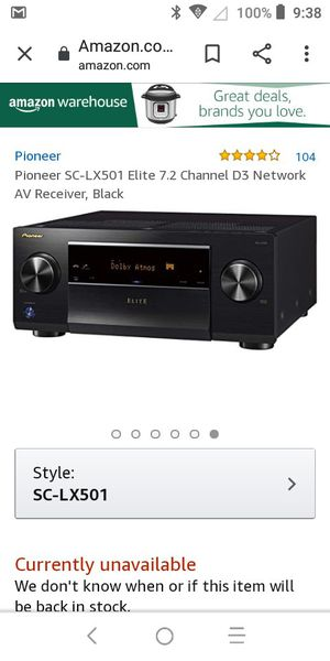 Pioneer home theater receiver lx501 high end for Sale in South Gate, CA