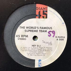 The World's Famous Supreme Team - Hey DJ - (12-inch Vinyl Record) Single for Sale in Corona, CA