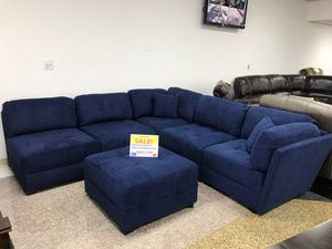 COMFY NEW MONACO FABRIC SECTIONAL AND OTTOMAN SET IN BLUE. FALL SALE EVENT BLOWOUT!!! SAME DAY DELIVERY! NO CREDIT CHECK FINANCING WITH ONLY $40 DOWN! for Sale in St. Petersburg, FL