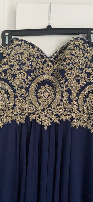 Beautiful Navy with Gold Embroidered Formal Dress for Sale in Katy, TX