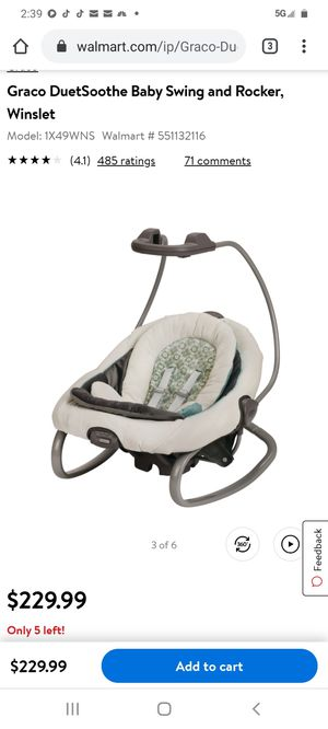Graco DuetSoothe Baby Swing and Rocker, Winslet NEW for Sale in Bartlett, IL