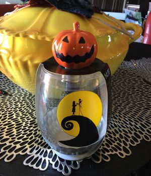 Nightmare Before Christmas Glass With Pumpkin Stopper for Sale in Morgan Hill, CA