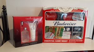 Budweiser essential game night with playing cards coasters poker guidebook dice and Calvin Klein for Sale in Fayetteville, AR