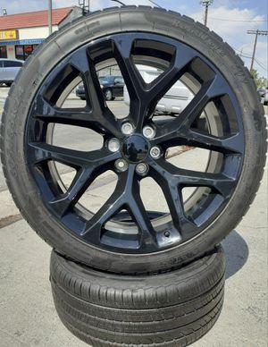 "24"" Chevy Silverado GMC Sierra Wheels & Tires Tahoe Yukon Escalade All Black Rims All brand New setof4 for Sale in Los Angeles, CA"
