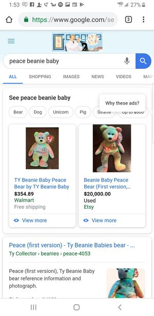 TY beanie baby peace bear and more ask for specific ones for Sale in Fenton, MO