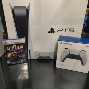 PS5 Bundle Disk Version Spider man And Extra Controller Included for Sale in Ontario, CA